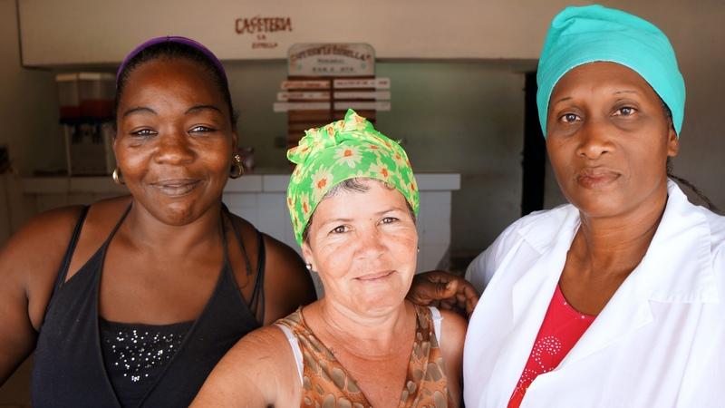 Zoica - 43, Olga - 44, Raiza 45. Restaurant workers. Santiago de Cuba, Cuba.